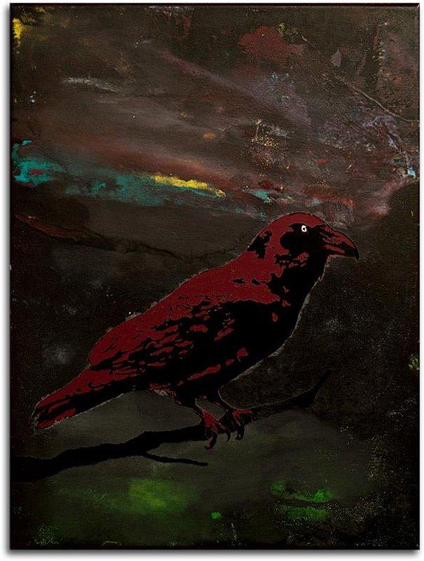 Raven In Stormy Bordeaux